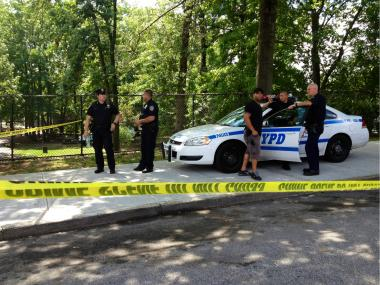 The scene where Kemar Brooks, 14, was found dead in Haffen Park.