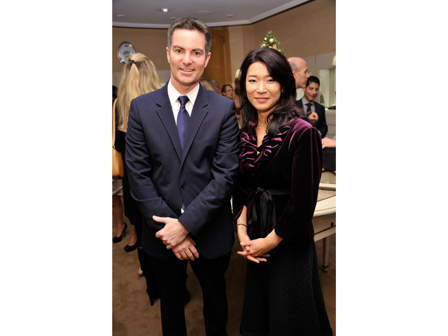 Brand President, Breguet North America, Michael Nelson (L), and Vivian Lee of NY 1 News attend Breguet Celebration of 10 Years on Madison Avenue on December 8, 2011 in New York City.