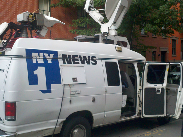 The NY1 news van, where Vivian Lee was initially attacked.