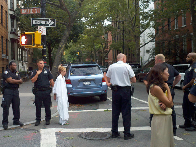 Theresa Casivanti was arrested on July 27 for attacking Vivian Lee, shown here at the scene.