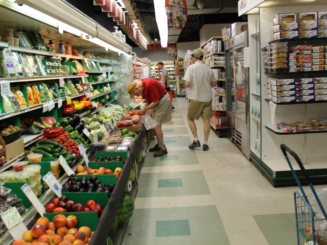 The old Key Food at Southbridge Towers has just half an aisle for fresh produce.