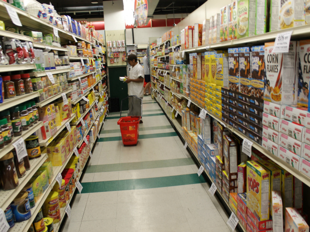 Cramped aisles at the old Key Food, which will be replaced by the new 55 Fulton Market in August 2012.
