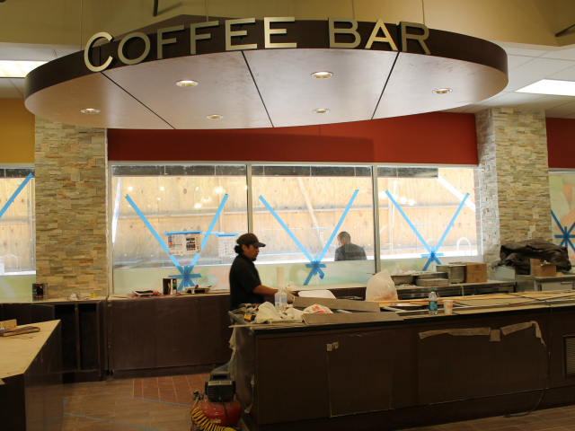 The coffee bar at the new 55 Fulton Market, opening in August 2012.