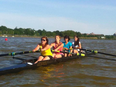 Row New York teaches adults in the Harlem River from the Peter Jay Sharp Boathouse.