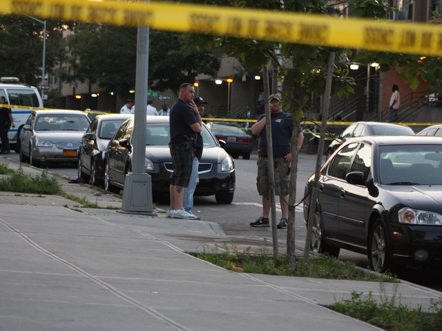 Police were investigating a drive-by shooting Sunday night, July 29, 2012, that left six people injured, including a toddler and two teenagers, the NYPD said.