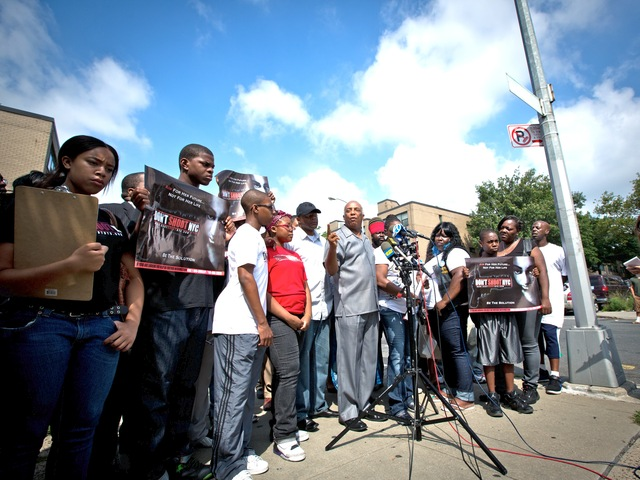 City Councilman Charles Barron holding a news conference in Brownsville on July 30, 2012.