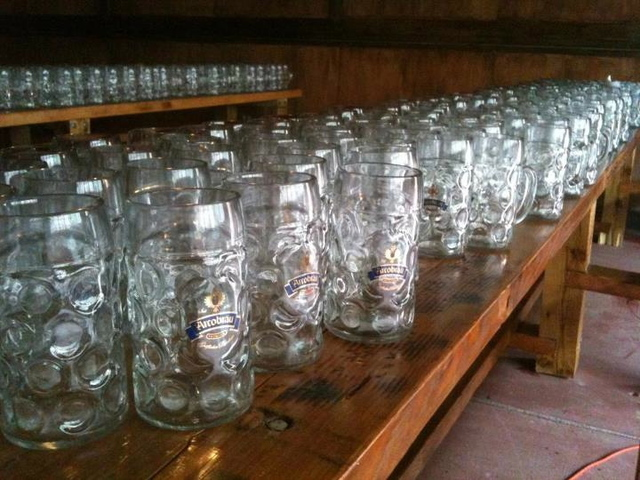 The glasses are ready to go, but Die Koelner Bierhalle isn't quite open yet.