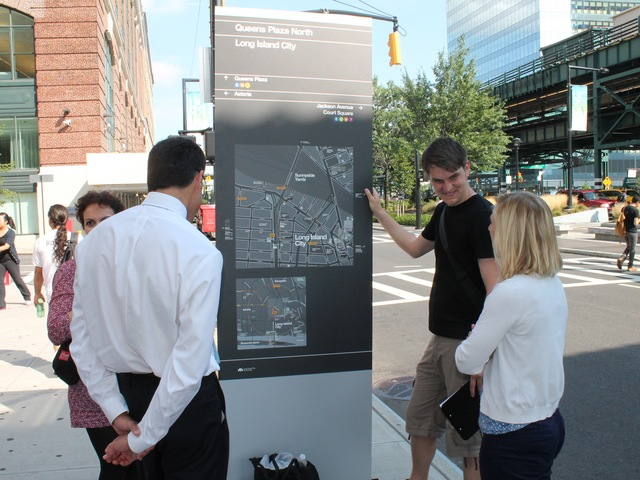 One of the mock-ups of the signs was unveiled in Queens Plaza on Monday and passersby were asked to give their feedback.