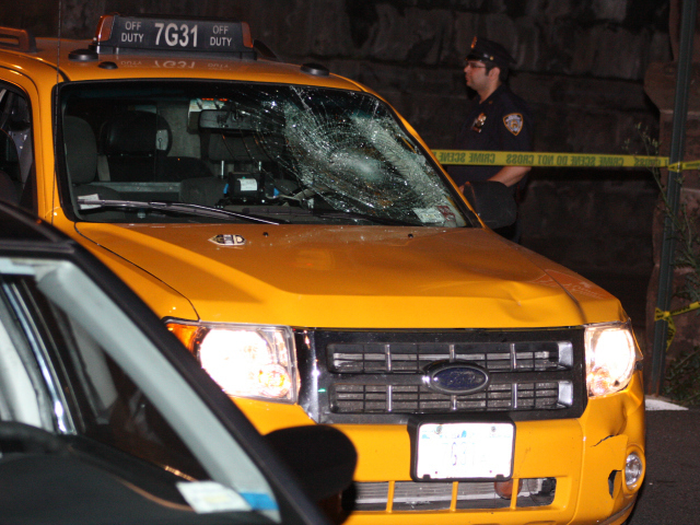 The cab that allegedly hit a cyclist at Park Avenue and East 108th Street July 30, 2012 had a smashed windshield.
