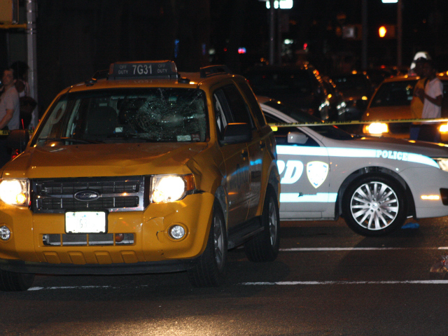 A cab hit a cyclist at Park Avenue and East 108th Street July 30, 2012.