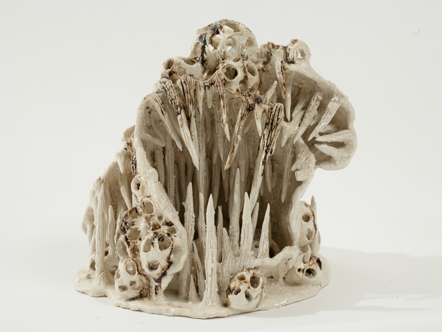 A clay sculpture by Heidi Lau. The artist created a series of fantasy landscapes for the second exhibit of Snug Harbor Cultural Center's artist fellowships.