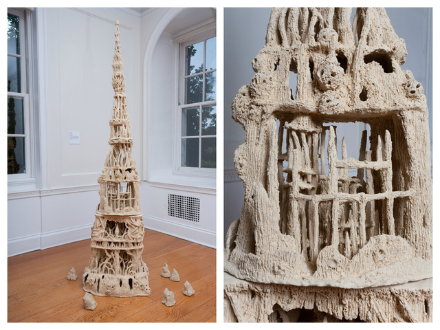 Heidi Lau created a series of clay fantasy landscapes, based off of rock formations found at Snug Harbor Cultural Center, for the museum's second exhibit featuring members of their artist fellowship program.