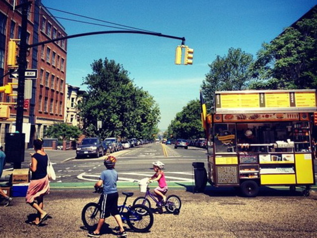 A local resident posted this photo of the Wafels & Dinges cart at Prospect Park West and Ninth Street with the caption,