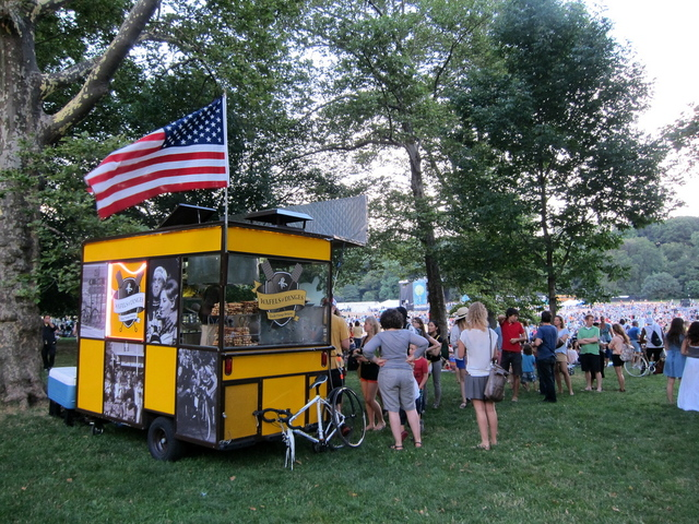 A Wafels & Dinges waffles cart in Prospect Park during a New York Philharmonic concert in the summer of 2012.