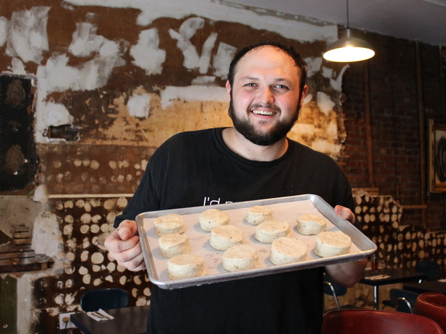 Mama Joy's specialties include cracked black pepper biscuits with duck confit.