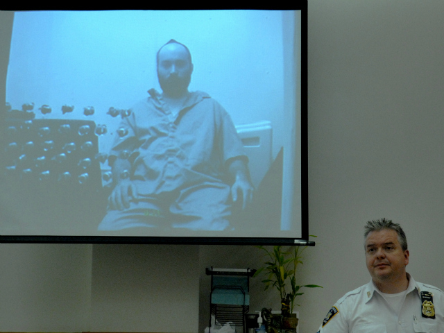 Levi Aron seen pre-trial video conference from October 24, 2011.