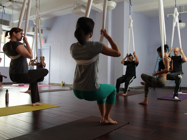 Aerial Yoga is gaining popularity among yoga lovers.