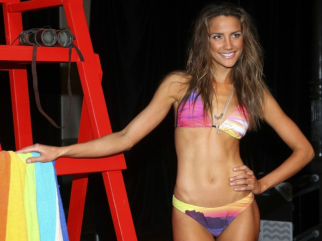 SYDNEY, AUSTRALIA - AUGUST 24: Model Rachel Finch poses after the Speedo Summer parade as part of Mercedes Benz Fashion Festival Sydney 2011 at Sydney Town Hall on August 24, 2011 in Sydney, Australia.