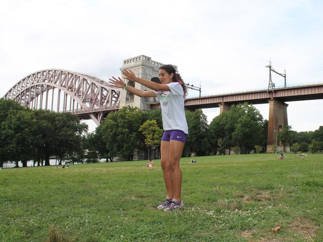 Jeshley who lives only a few blocks away from Astoria Park, has been practicing track and fields for the past nine  years as part of  a free program offered by the City Parks Foundation.