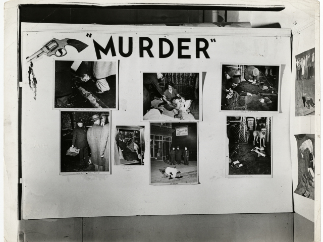 "Weegee, [Installation view of ""Weegee: Murder Is My Business"" at the Photo League, New York], 1941."