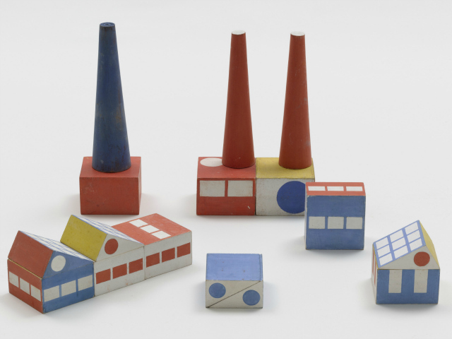 Ladislav Sutnar (American, born Bohemia [now Czech Republic]. 1897–1976). Build the Town building blocks. 1940–43. Painted wood, thirty pieces of various dimensions, largest smokestack: 7 3/8 x 2″ (18.7 x 5.1 cm).