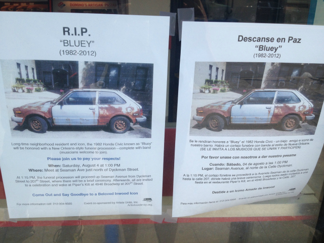 A poster lets Inwood residents know about Bluey's August 4, 2012 funeral procession.