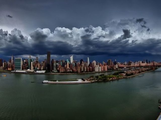 Ominous clouds lurk over the city Aug. 5, 2012.