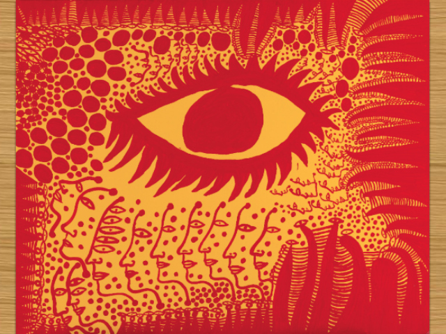 "Yayoi Kusama (b. 1929), ""I Want to Live Honestly, Like the Eye in the Picture,"" 2009. Synthetic polymer on canvas, 51 5/16 x 63 3/4 in. (130.3 x 162 cm). Collection of the artist."