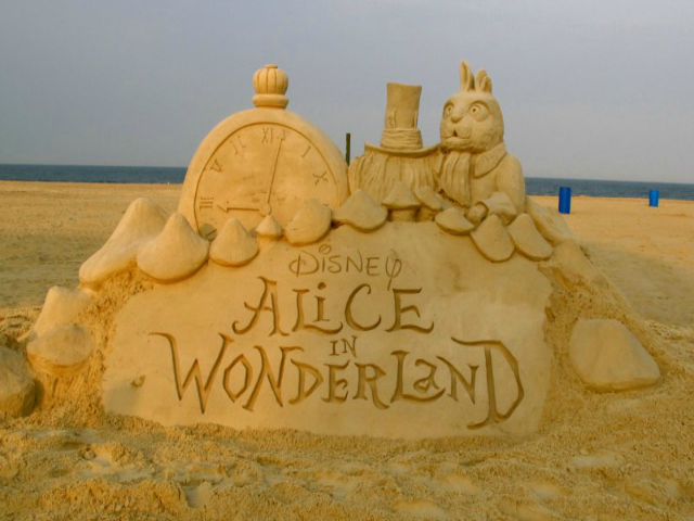 A sand sculpture Disney commissioned Matt Long to make to promote the DVD of Tim Burton's