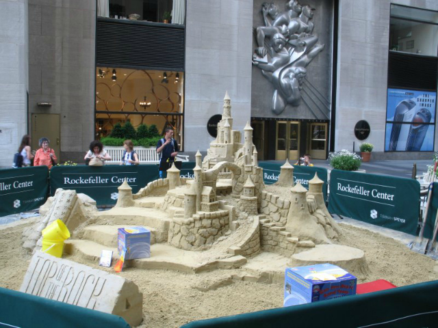A sand castle built by Matt Long in Rockefeller Plaza. The State Islander will run his first sand sculpting contest on the borough in several years.