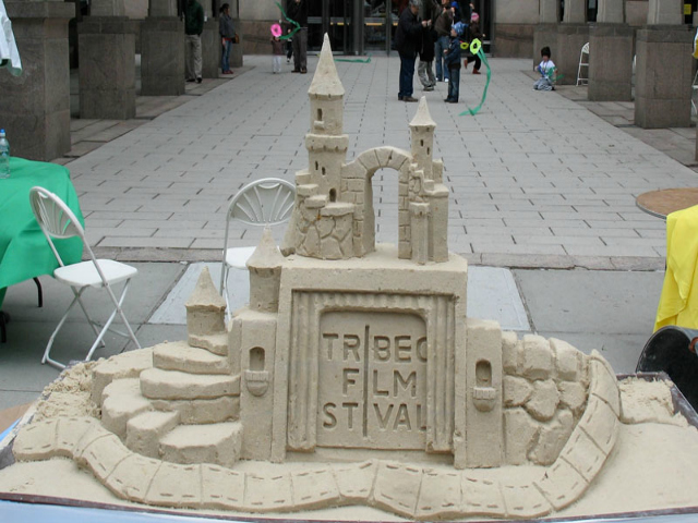 A sand sculpture by Matt Long for the Tribeca Film Festival.