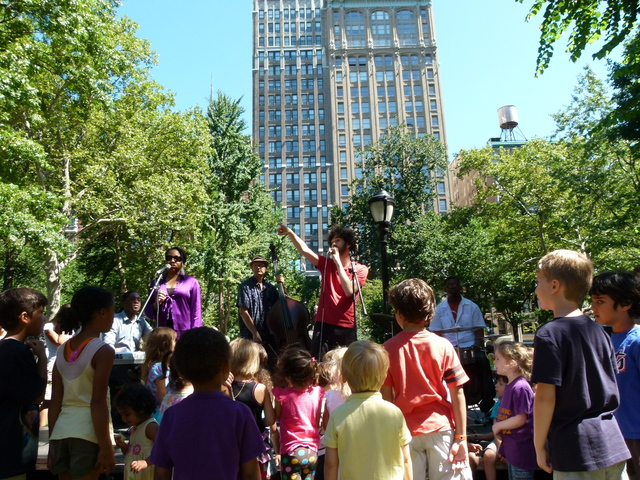 Clarinet player Oran Etkin at Madison Square Park, part of the annual kids concert series that draws hundreds.