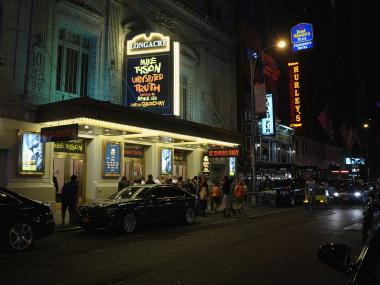 Police responded to the Longacre Theatre as a precaution last weekend after learning a Twitter user had threatened a 'Batman'-style shooting massacre there.