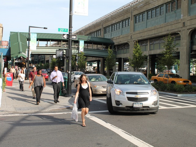 Number of pedestrians walking around Queens Plaza can now compare with some areas in Manhattan.