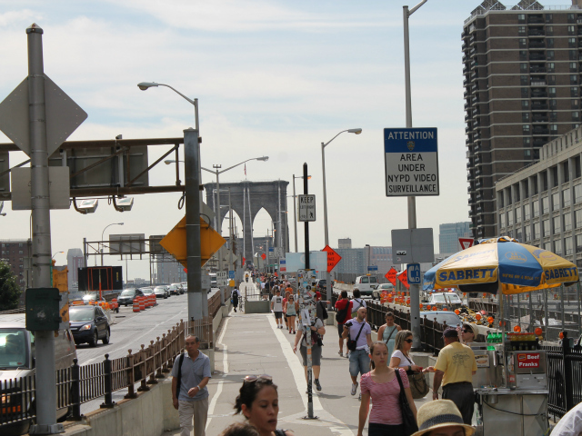 The Brooklyn Bridge walkway is too crowded, politicians said.