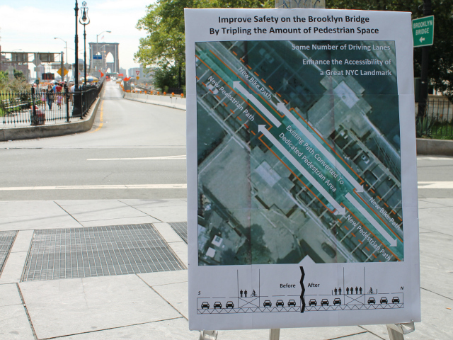 The proposal to widen the Brooklyn Bridge walking and biking path, unveiled Aug. 7, 2012.