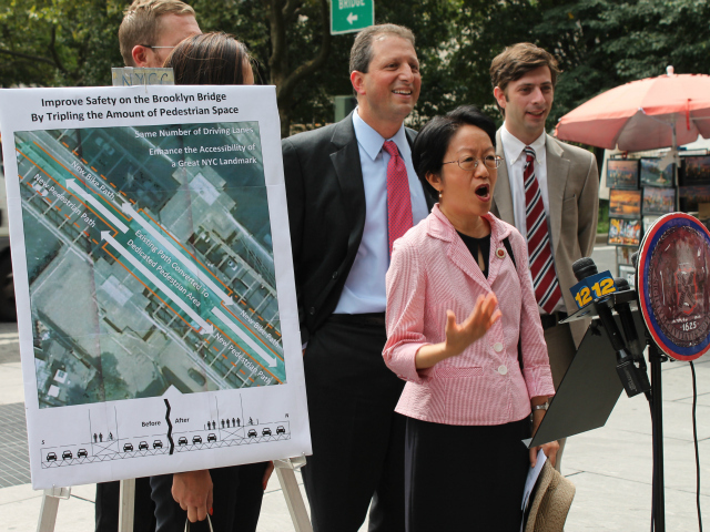 City Councilwoman Margaret Chin said she has gotten complaints about the narrow walking and biking path over the Brooklyn Bridge.