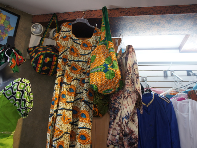 A wax-print bag at DS Fashion on Nostrand Avenue in Crown Heights. Tribal prints show no sign of fading as summer shifts into fall.
