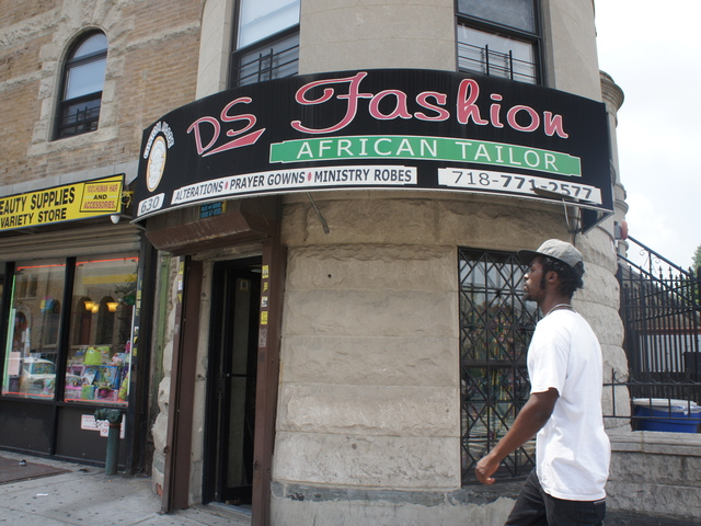 DS Fashion on Nostrand Avenue in Crown Heights. Tribal prints show no sign of fading as summer shifts into fall.