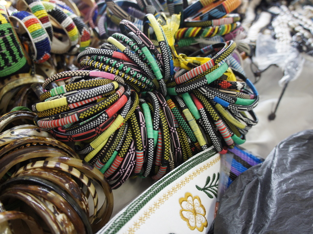 Taureg-style woven bracelets at Badugula Tye Dye African Creation on Fulton Street in Bed-Stuy.