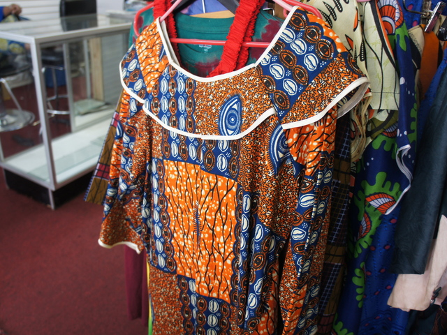 A traditional wax-print dress from West Africa at Badugula Tye Dye African Creation on Fulton Street in Bed-Stuy.