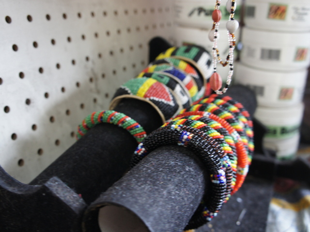 Masai bracelets for sale at Kebe's African Fashions on Fulton Street in Bed-Stuy
