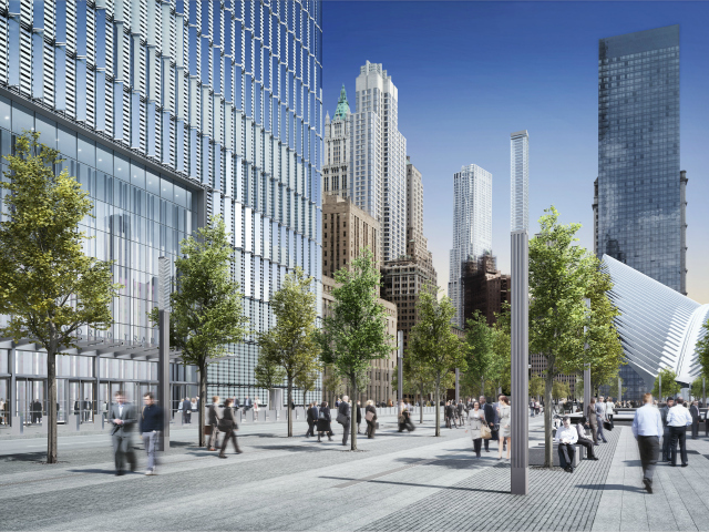 The plaza outside 1 World Trade Center, opening in 2014.