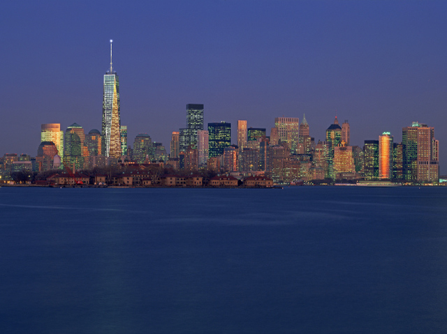 One World Trade Center, seen from Staten Island.