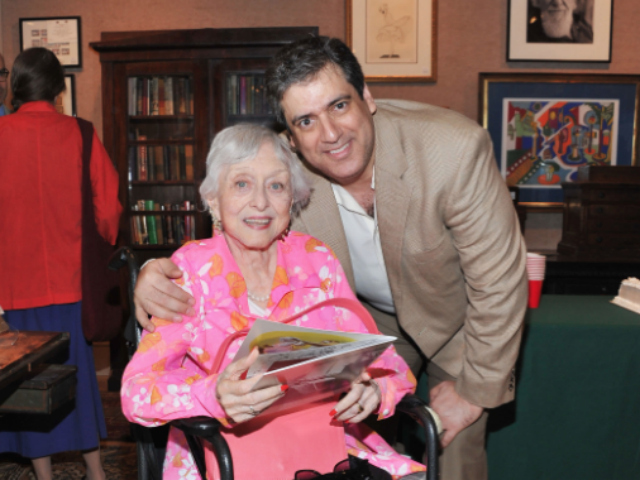 Actress Celeste Holm and her fifth husband, Frank Basile, attend Al Hirschfeld's 108th Birthday Celebration at Doyle New York on June 20, 2011.
