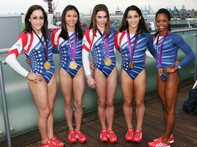 Jordyn Wieber, Kyla Ross, McKayla Maroney, Aly Raisman and Gabrielle Douglas of the U.S. women's gymnastics team on August 8, 2012 in London, England.