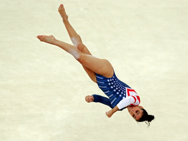 U.S. gymnast Aly Raisman at the London 2012 Olympics, where she two gold medals and a bronze medal. She'll be performing at the Barclays Center on Nov. 18 with other members of the women's gymnastics team.