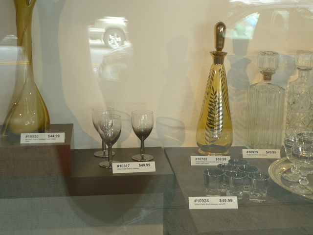 Glassware in the window display at Robert Henry Vintage on Sixth Avenue between 19th and 20th streets.