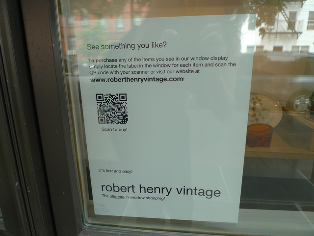 If shoppers see something they like in the window of Robert Henry Vintage, they can buy it on the spot using their smart phone.