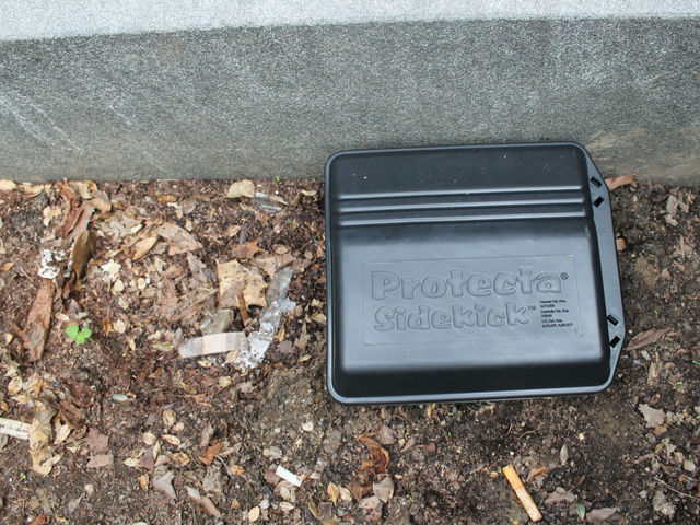 The Parks Department has acknowledged that rat bait is harmful to hawks, yet the museum grounds, which are maintained by the Parks Department, are lined with rodenticide boxes like this one.